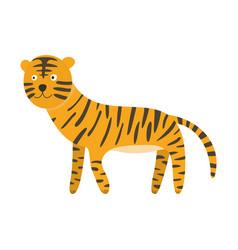 cute cartoon orange black striped smiling tiger vector image vector image