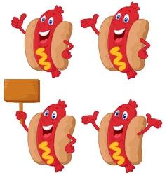 Cute sausage cartoon vector image