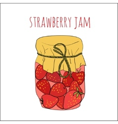 Jar of strawberry jam isolated on white vector image vector image