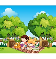 Kids studying outdoor with a cat vector image