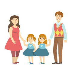 parents and two twin little daughters vector image