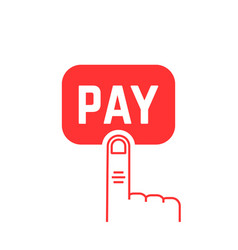 pay button with red thin line finger on white vector image vector image