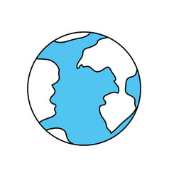 color sectors silhouette of earth globe icon vector image