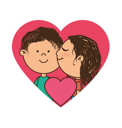 Color silhouette with couple in heart frame and vector