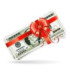 Dollar Bills with Ribbon and Bow vector image vector image