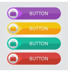 flat buttons with suitcase icon vector image