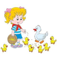 Girl feeding ducklings vector image