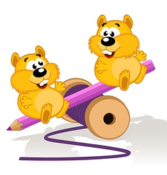 Hamsters on a swing vector image vector image