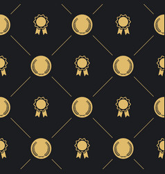 laurel wreath and badge seamless pattern vector image