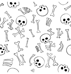 seamless pattern with skulls and bones vector image