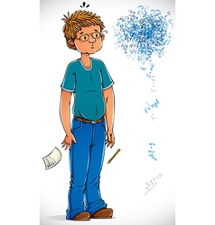 Smart boy confused with the formulas vector image
