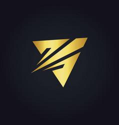 triangle arrow gold logo vector image vector image