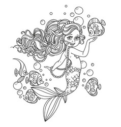 beautiful little mermaid girl outlined isolated on vector image vector image