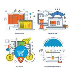 desk work marketing education insurance vector image