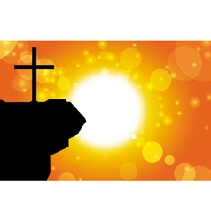 easter silhouette of jesus cross background vector image