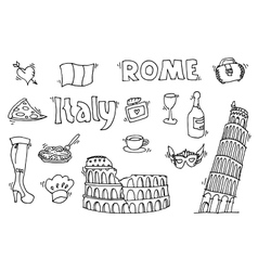 Italy doodle set vector image vector image