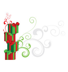 piramide of gift boxes red and green with vector image