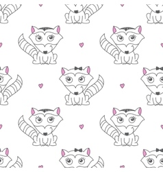 Seamless pattern of raccons vector