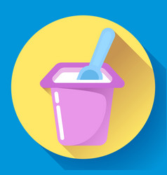 yogurt cup with a spoon flat icon vector image vector image