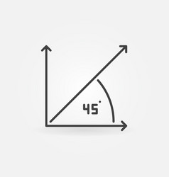45-degrees concept minimal icon in thin vector image
