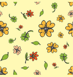 amazing cute seamless autumn floral pattern vector image