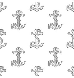 anchor and rope grey seamless pattern vector image