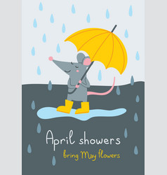 April showers bring may flowers card vector