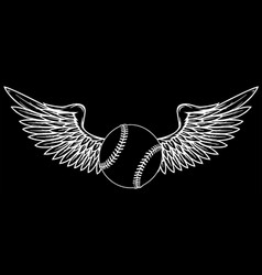baseball ball silhouette in black background vector image