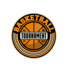 Basketball professional tournament vintage label vector