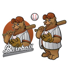 Bear cartoon baseball player vector