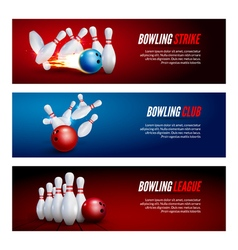 Bowling banner set design Bowling strike champ vector