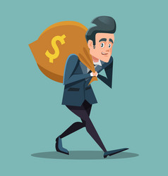 Businessman cartoon with money bag vector