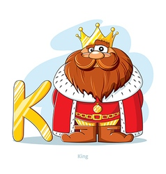Cartoons Alphabet Letter K with funny King vector image