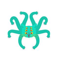 Cat octopus monster ufo pet with tentacles vector