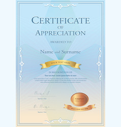 Certificate appreciation template with gold vector
