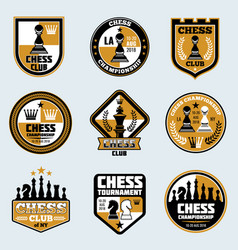 Chess club labels business strategy logos vector