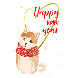 Christmas card with akita inu vector