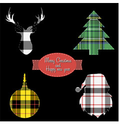 christmas set on tartan background vector image