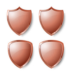 Collection of copper shields isolated on whiite vector