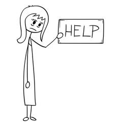 conceptual cartoon of depressed businesswoman vector image