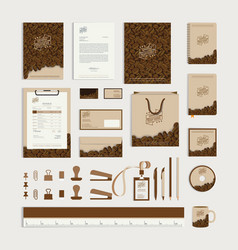 Corporate identity design template with coffee vector