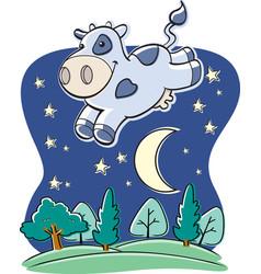 cow moon vector image