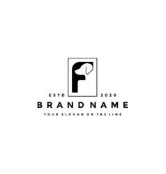 Creative design initials letter f dog vector