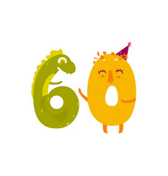 Cute animallike character number sixty 60 vector