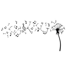 dandelion with notes black and white vector image