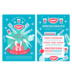 dental clinic services poster with procedures list vector image