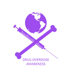 Drug overdose awareness concept jolly roger style vector