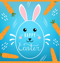 easter card with lettering inscription on blue vector image