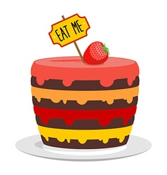 Eat me big cake with strawberries magic pie from vector
