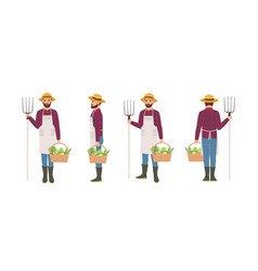 farmer isolated on white background agricultural vector image